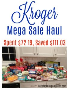 Kroger Mega Sale Haul – Saved $111.03, Spent $72.19!