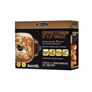 BELLA 12 x 12 Inch Electric Skillet with Copper Titanium Coating Only $19.99!
