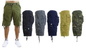 Men's Slim-Fit Distressed Cotton Belted Cargo Shorts Only $14.99!