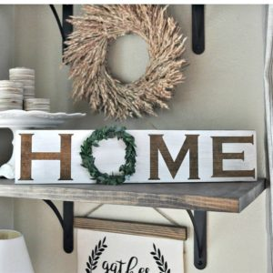 Wood Home Sign With Wreath Only $13.99!