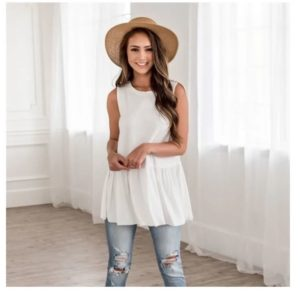 Sleeveless Ruffle Bottom Top was $24.99, NOW $14.99!