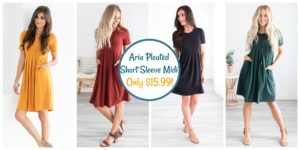 Aria Pleated Short Sleeve Midi was $39.99, NOW $15.99!