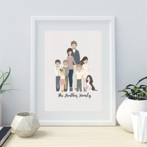 Family Custom Cartoon Portrait – Was $40.00 – Now $17.99 + Free Shipping!