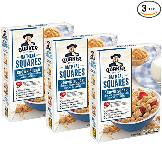 Quaker Oatmeal Squares Cereal, 3 count