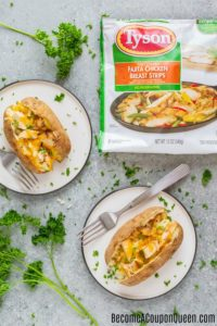 Quick & Easy Meal Idea! Chicken & Cheese Topped Baked Potato