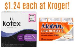 Kroger: Motrin Ibuprofen Liquid Gels 20ct & U by Kotex Products Only $1.24 each!