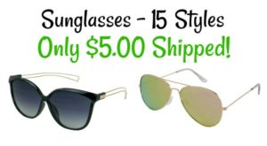 Sunglasses Sale – 15 Styles Only $5.00 Shipped!
