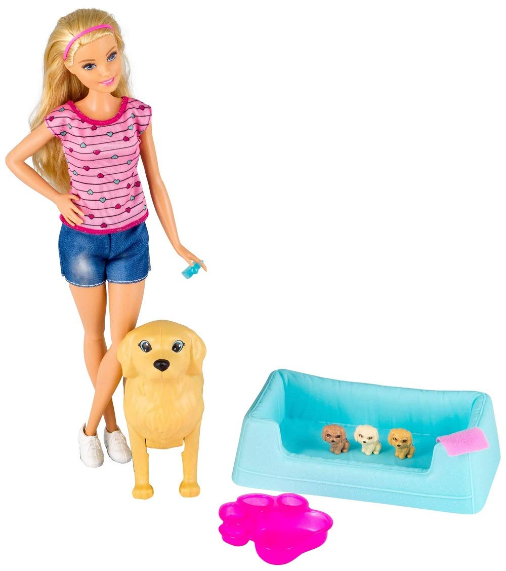 Barbie Newborn Pups Doll & Pets – $8.49 – Best Price!