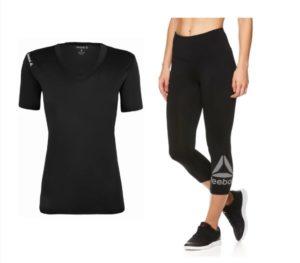 Reebok Women's V-Neck T-Shirt and Highrise Capri Leggings Only $18!