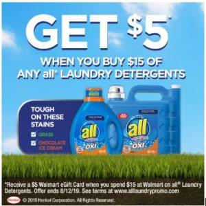 $5 Walmart eGift Card wyb $15 All Laundry Detergents!