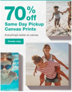 Photo Canvas Sale – 70% OFF + FREE Same Day Pick Up!