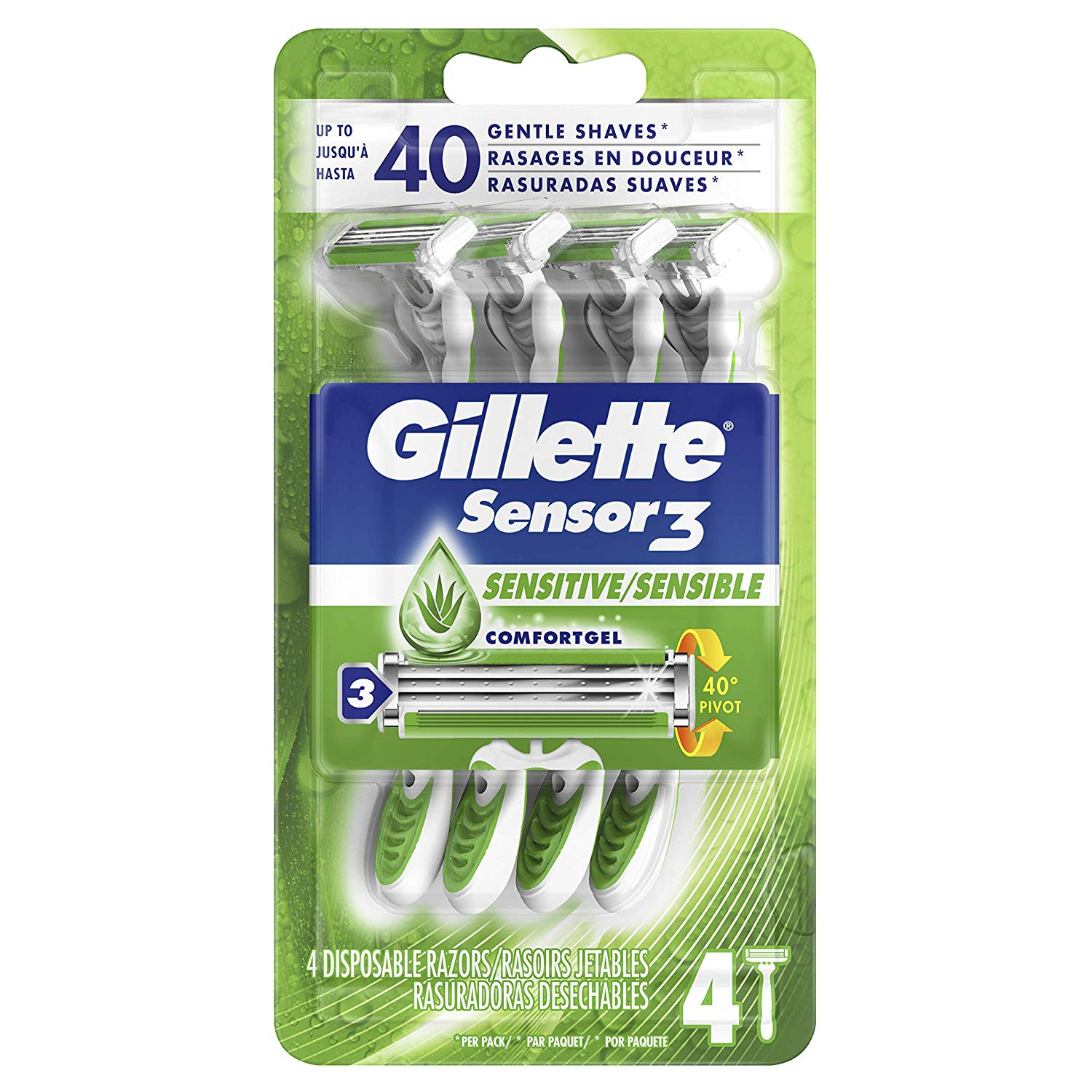 Gillette Sensor3 Sensitive Men's Disposable Razor, 4 Razors Only $2.97!