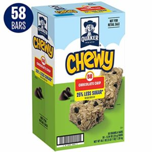 Quaker Chewy Granola Bars, 25% Less Sugar, Chocolate Chip, 58 Bars as low as $7.67!