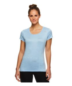 Reebok Women's Fitted Performance Spacedye Mini Burnout Stripe T-Shirt – $9.99 + FREE Shipping!