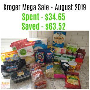 Kroger Mega Sale – August 2019: Spent $34.65, Save $63.52!