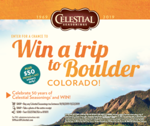 Enter to Win a Trip to Boulder, Colorado wyb Celestial Seasonings at Walmart!