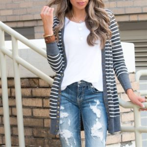 Long Striped Button Snap Cardigan Only $21.99 Shipped!