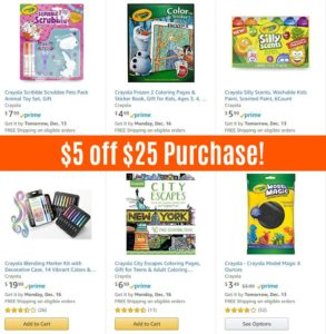 $5 off $25 Select Crayola Products!