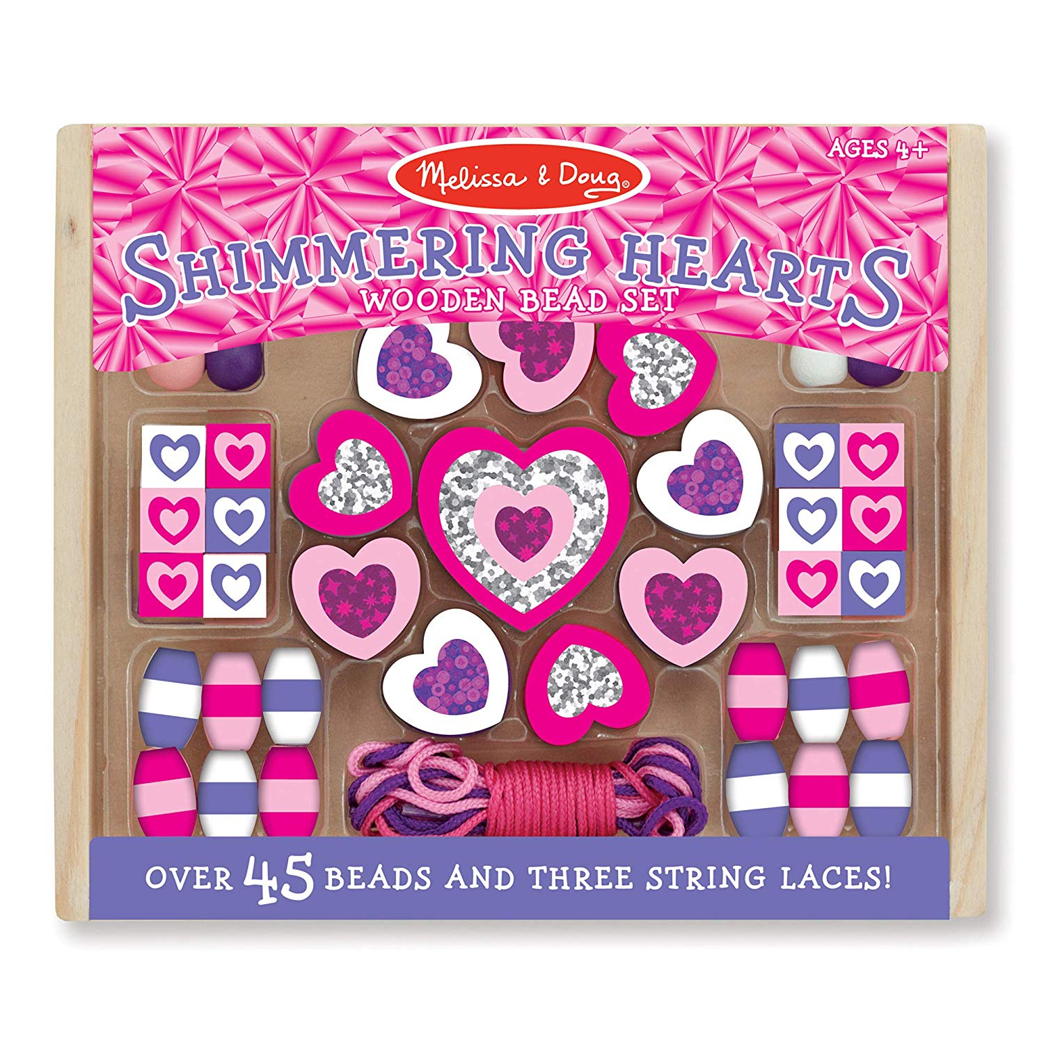 Melissa & Doug Shimmering Hearts Wooden Bead Set Only $4.99!