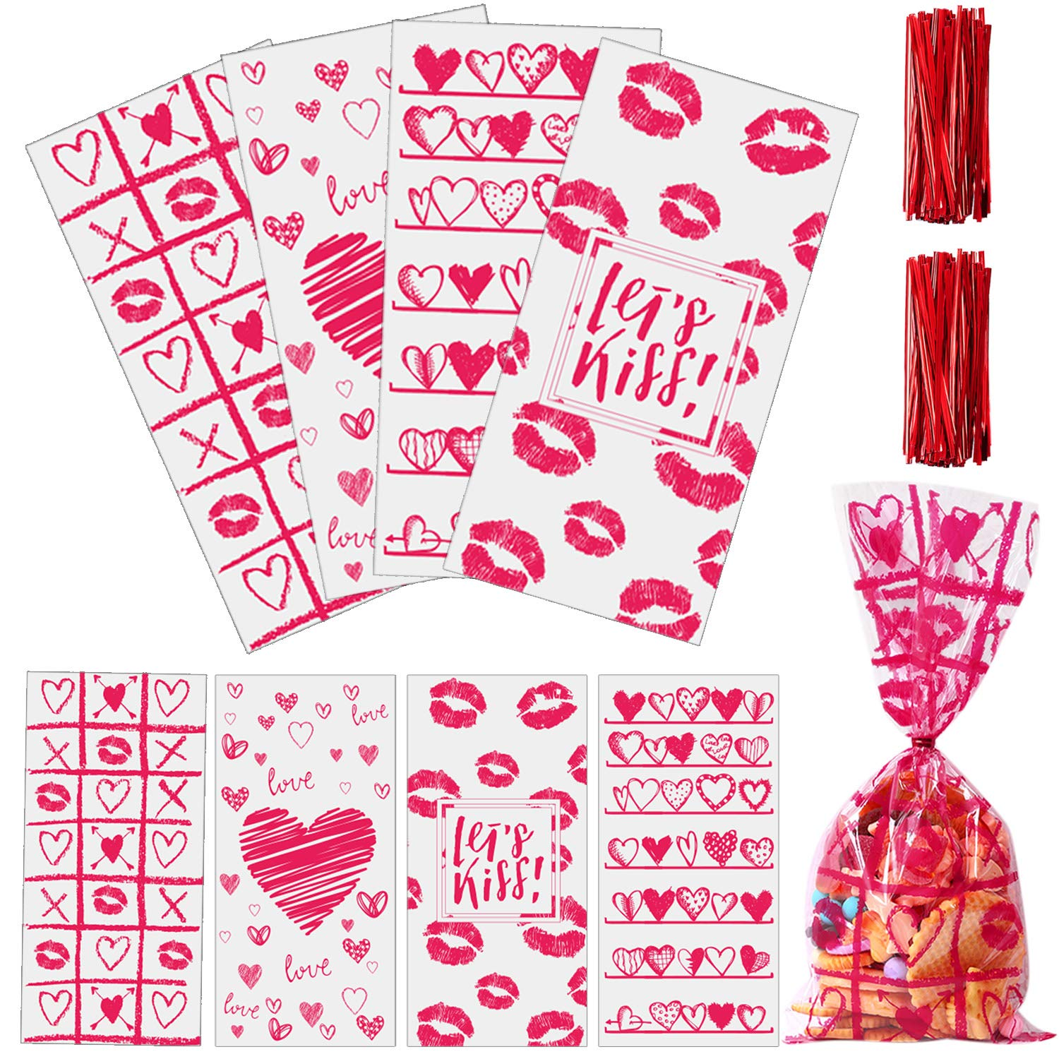 Valentine Cellophane Bags 100 Count Only $6.99!