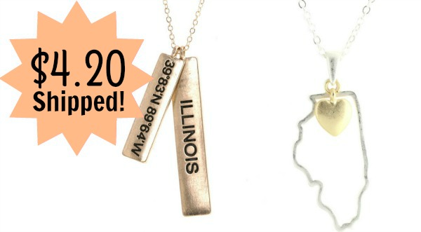 State Necklace – Bar or Outline – Only $4.20 + FREE Shipping!