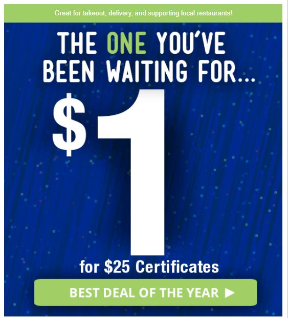 *HOT* $25 Restaurant.com Gift Certificate Only $1.00!