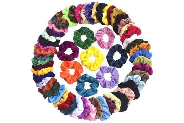 Pack of 60 Velvet Hair Scrunchies