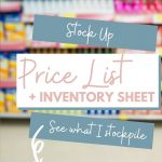 Stock Up Price List & Stockpile Inventory Sheet - Edit & Print to Use