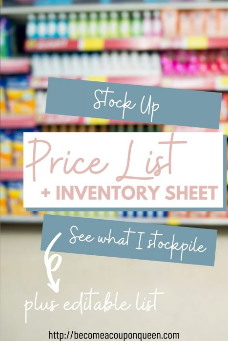 Stock Up Price List and Stockpile Inventory Sheet