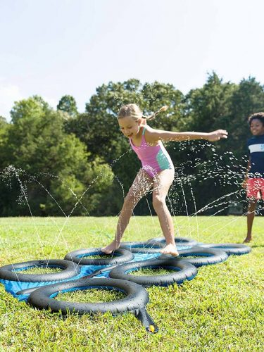 Tire Run Inflatable Obstacle Course with Sprinklers on Sale! SUPER Fun!