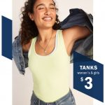 Old Navy Tank Tops on Sale! Women's & Girls' Tanks Only $3 Today Only!